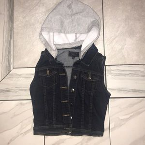 Denim button up vest with removable hoodie